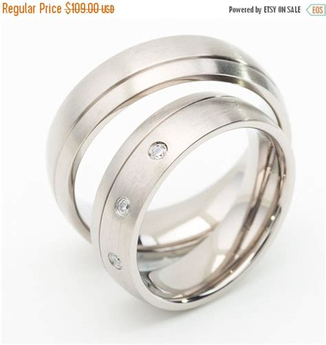 Wedding Rings Sale by On Sale Titanium Wedding Ring Sets With Grooved Line