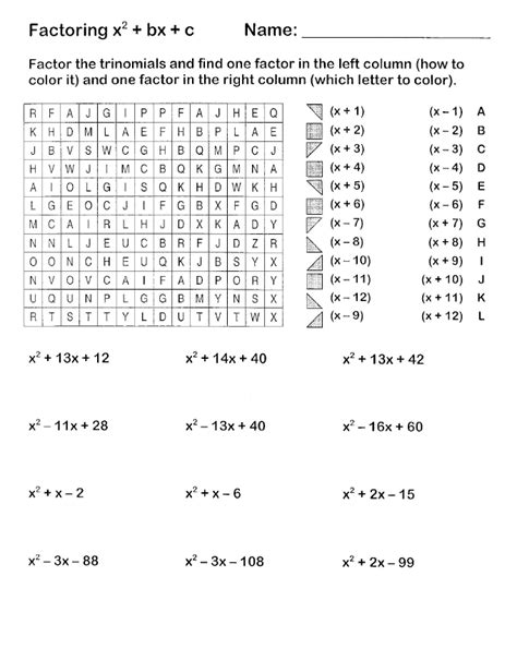 Factoring Polynomials Worksheet Algebra 2 by Search And Shade Worksheets 171 Hoppe Math