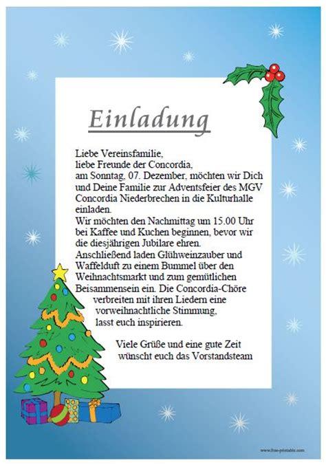 Muster Einladung Weihnachtsmarkt Einladung Zur Weihnachtsfeier Concordia Niederbrechen