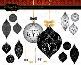 digital clipart fancy damask christmas tree ornaments black