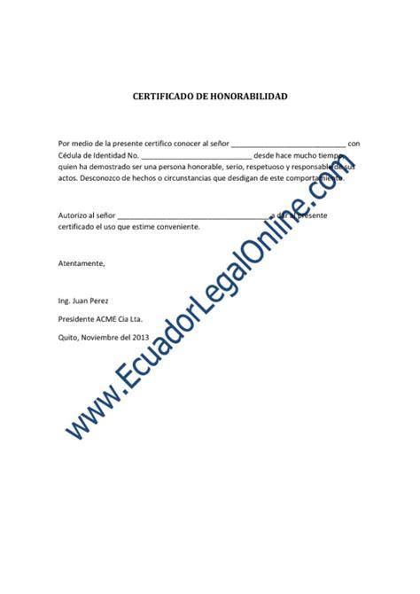 certificado de no haber sido dado de baja de la cte modelo de certificado de honorabilidad 171 ecuadorlegalonline