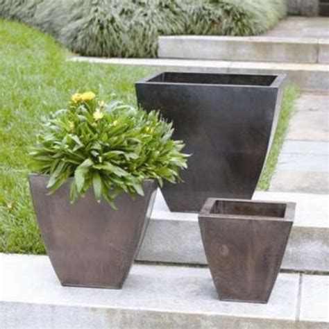 Planters Outdoor by Napa Home And Garden Square Copper Zinc Planter Set