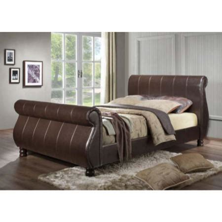 Upholstered Sleigh Bed Frame Birlea Furniture Marseille Brown Upholstered Sleigh Bed Frame Furniture123