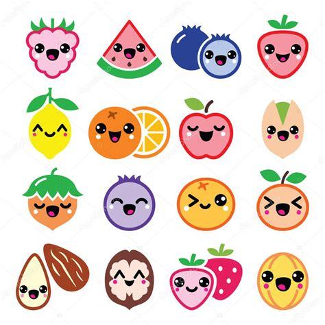 imagenes de frutas kawaii dise 241 o kawaii frutas y frutos lindos personajes vector