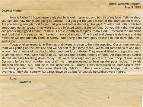Trench Warfare Essay by Letter From The Trenches Essay