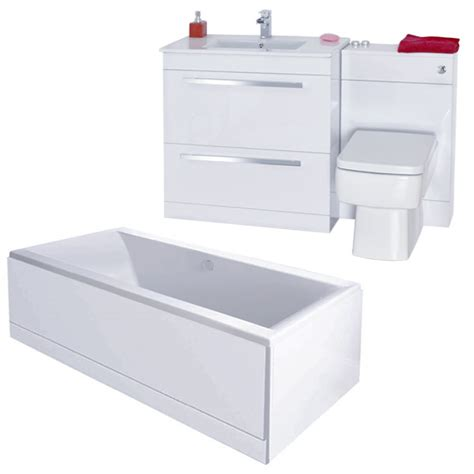 Vitra Vanity Nova High Gloss White Vanity Bathroom Suite With Square