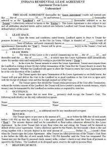 indiana residential tenancy lease agreement indiana rental
