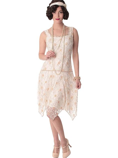 1920s vintage floor length beaded wedding dress beaded 20s style white lace flapper dress 1920s wedding