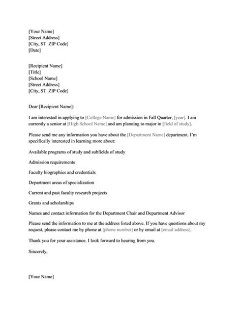 Credit Letter Requesting For Information Letter To College Requesting Information Office Templates