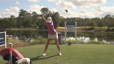 golf swing slow motion face on michelle wie driver golf swing face on 2013 cme