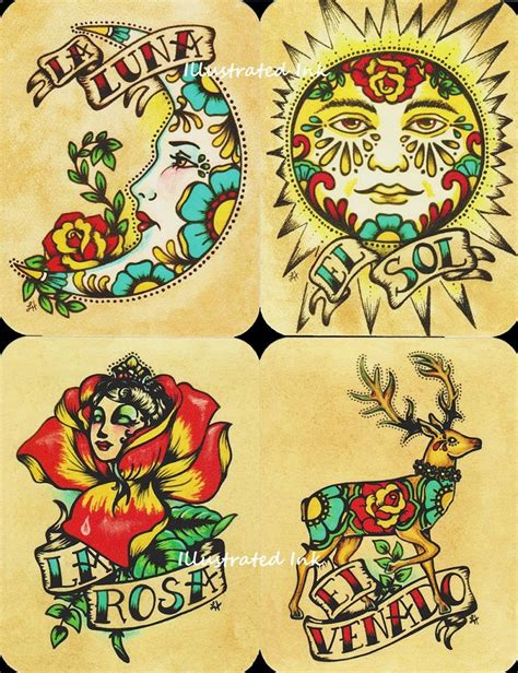 traditional mexican tattoos folk postcards mexican loteria set of 8