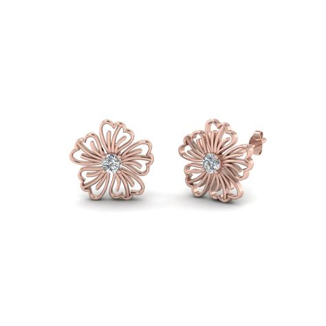Stud Earring hibiscus flower stud earring fascinating diamonds