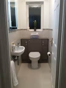 cloakroom bathroom ideas small cloakroom grey lined wall and floor tiles edged