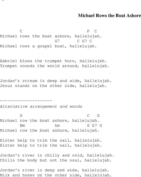 chords for michael row the boat ashore michael rows the boat ashore christian gospel song