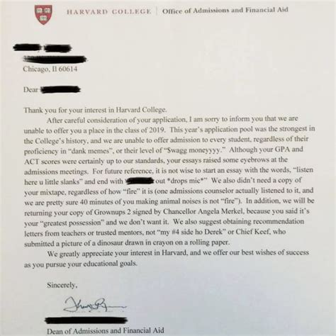 harvard rejection letter funny picture