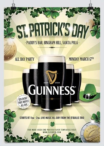 st patricks day flyer vector free download