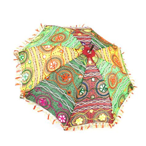 Indian Handmade Crafts - fabric parasol umbrella indian embroidered handmade fair