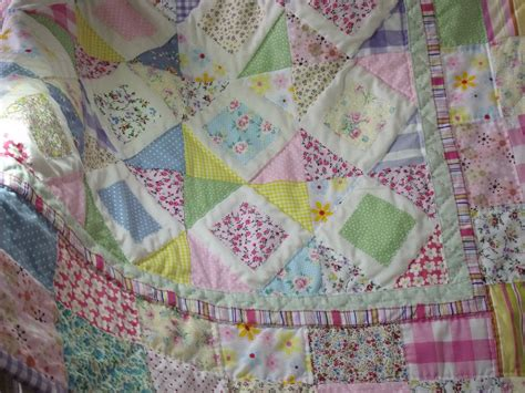 Baby Patchwork Quilt - patchwork quilt handmade quilt pastel colours quilt