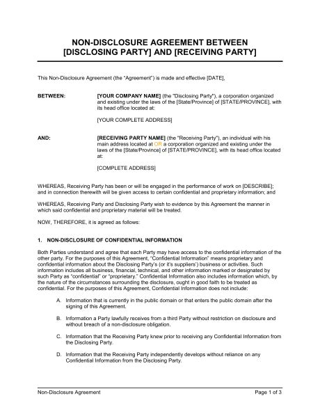 contract between two companies template non disclosure agreement format template between