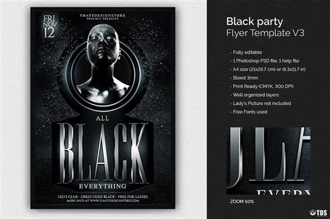 Black Party Flyer Template V3 Thats Design Store Black Flyer Template