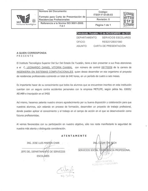 carta de presentacion pdf residencia profesional itssy