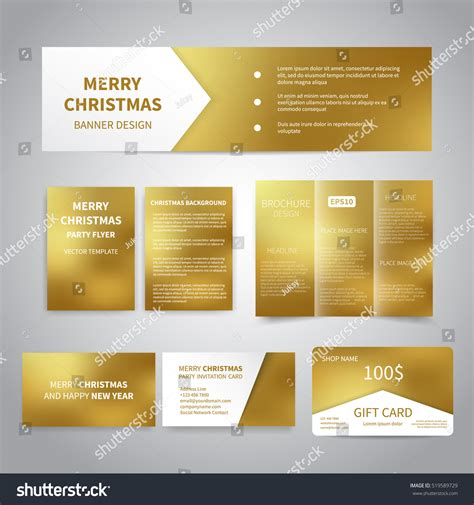 gift card flyer template merry banner flyers brochure cards stock vector