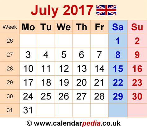 Calendar 2017 July Uk Calendar July 2017 Uk Bank Holidays Excel Pdf Word Templates