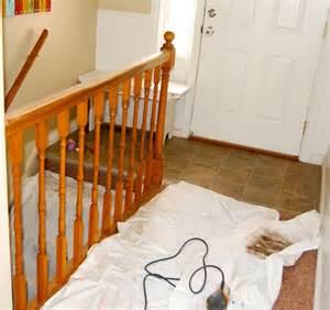 the polka dot umbrella banister and handrail refinish