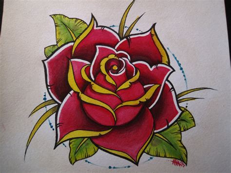 new school rose tattoo design new school idee for my sleeve tattoos and piercings
