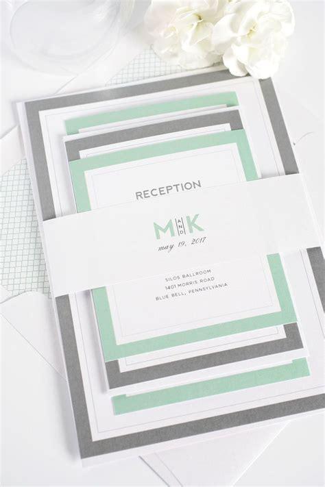 jade set layout modern initials wedding invitations in soft jade jade