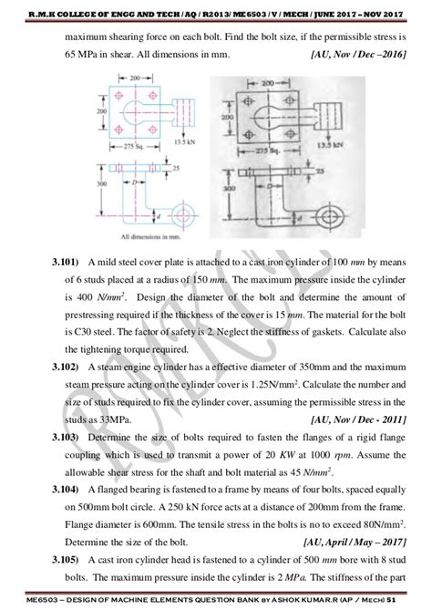 design of rc elements question bank design of machine elements question bank
