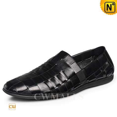 Woven Black by Cwmalls 174 Black Woven Leather Mens Loafers Cw716407