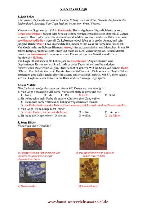 Lebenslauf Unterricht Vincent Gogh Biographie Grundschulmaterial