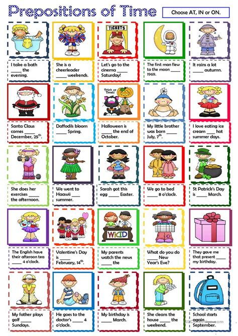 prepositions  time worksheet  esl printable