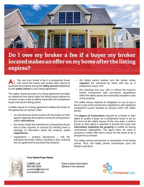 Client Q A Do I Owe A Fee If A Buyer My Broker Located Makes An Offer After The Listing Expires Expired Listing Template