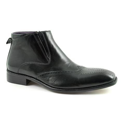 buy mens designer black brogue boots gucinari style