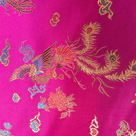 chinese pattern fabric uk dragon cerise chinese oriental gold woven brocade silky