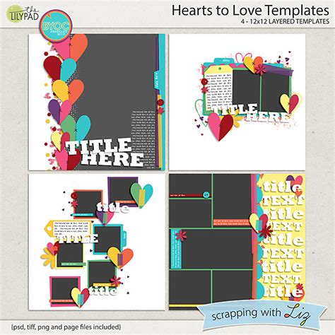 Digital Scrapbook Template Hearts To Love Scrapping With Liz 12x12 Digital Scrapbook Templates