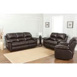 Leather Reclining Living Room Sets Abbyson Living Westwood 3 Leather Reclining Living Room Set Reviews Wayfair
