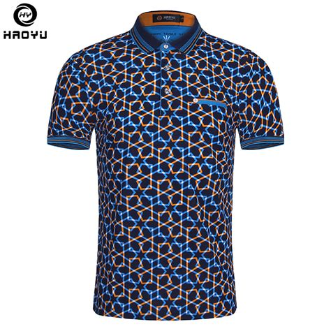 pattern shirt man 2016 summer fashion mens polo shirt short sleeve geometric