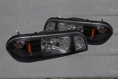 87 93 mustang headlights 87 93 ford mustang black housing headlights w