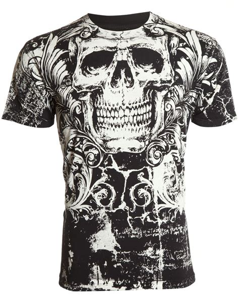 skull tshirt mens archaic affliction mens t shirt killroy skull biker