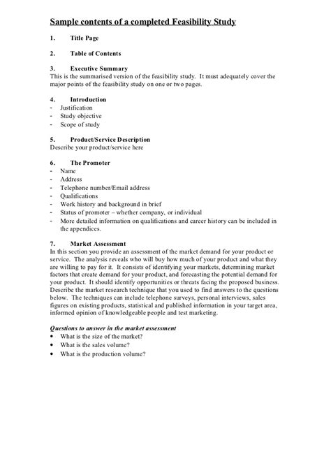 Sle Contents Of A Completed Feasibility Study Executive Summary Feasibility Study Template