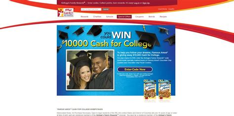 Contest To Win Money For College - kelloggsfamilyrewards com scholarshipsweeps famous amos cash for college sweepstakes