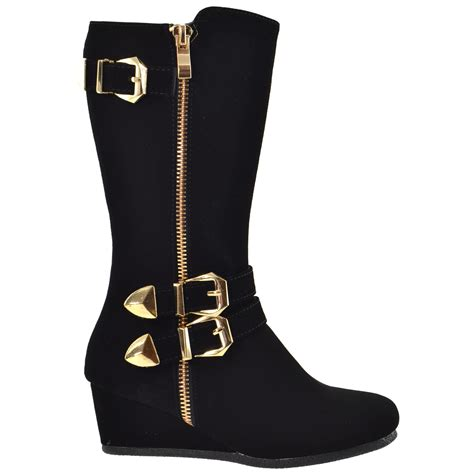 toddler youth knee high wedge boots w gold buckle
