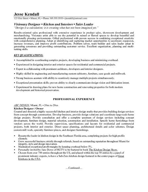 Kitchen Designer Resume by Example Kitchen Designer Resume Free Sample