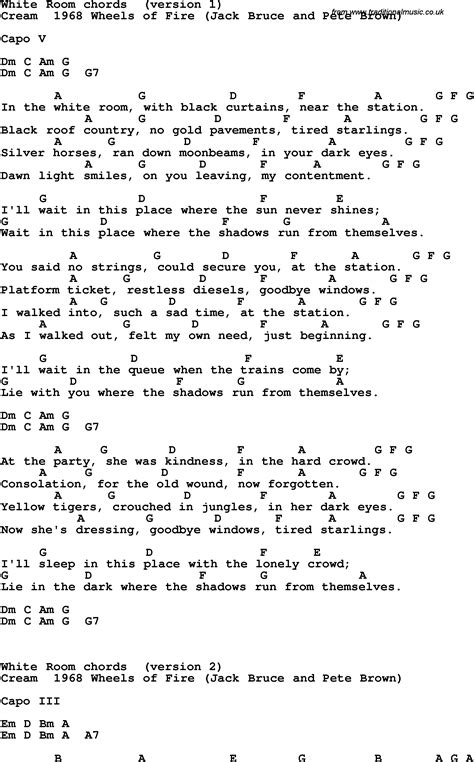 White Room Tab by Song Lyrics With Guitar Chords For White Room