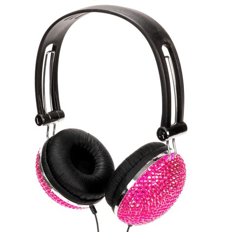 Headphone Pink Pink Rhinestone Bling Dj Ear Headphones