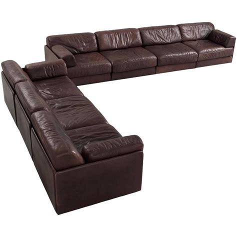 modular sofa leather de sede ds 76 modular sofa in dark brown leather for sale