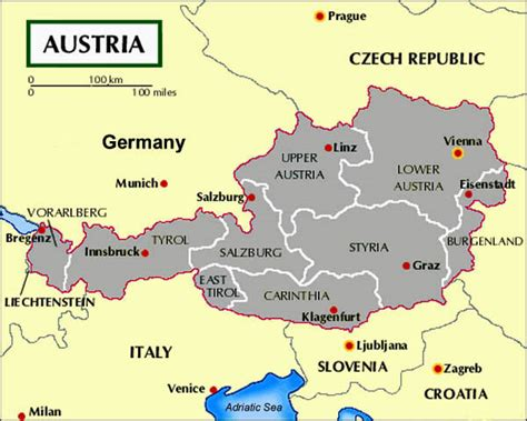 austria regions map r 233 gion du tyrol voyages cartes